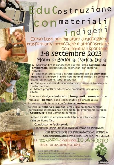 Educostruzione con materiali indigeni, 1-8 settembre 2013, Appenino Parmense-2